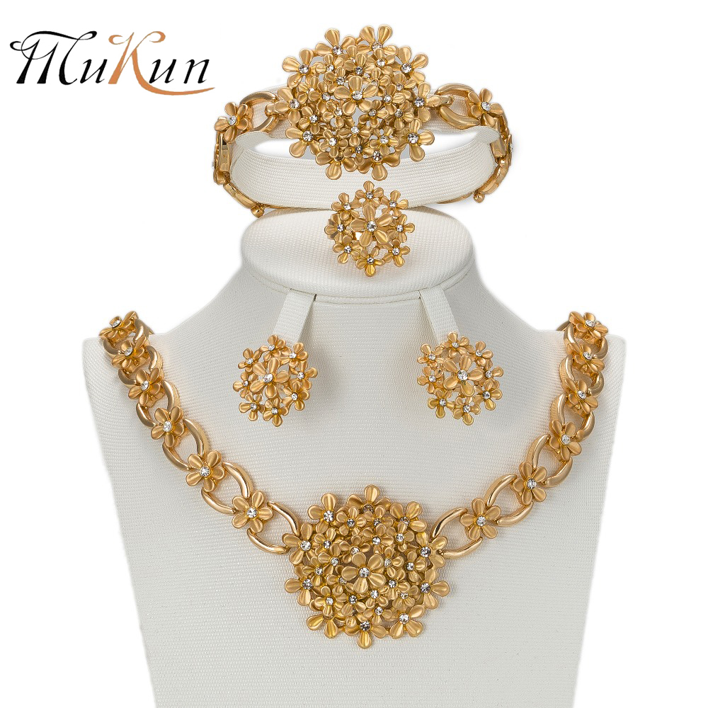 MUKUN 2017 African Gold color Nigerian Wedding Beads Jewelry Set - Fashion Jewelry - Photo 1