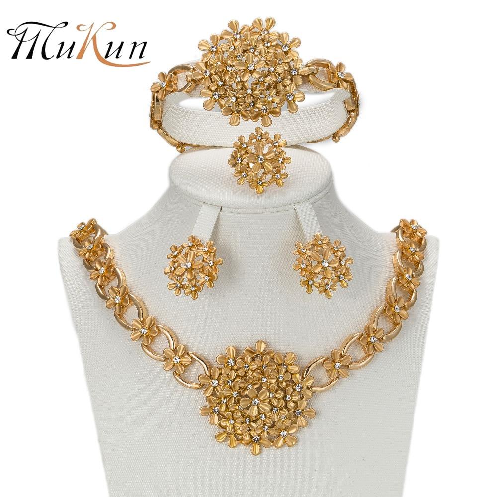 MUKUN 2017 afrička zlatna boja Nigerijske vjenčane perle nakit Set - Modni nakit