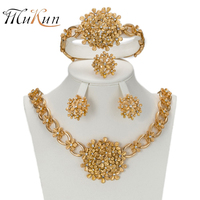 SHILU 2017 African Gold Plated Nigerian Wedding Beads Jewelry Set Flower Type Crystal Saudi Jewelry Sets