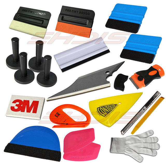 8 Tint Tools Kit Magnets, Felt Scraper,3M Wool Squeegee,Vinyl Cutter,Gloves AT026