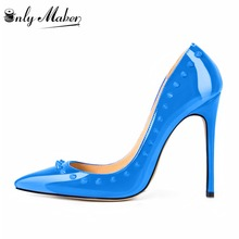 Onlymaker Sexy club red bottom high heels Patent leather pointed toe shoes woman spike shoes fashion thin heels women pumps
