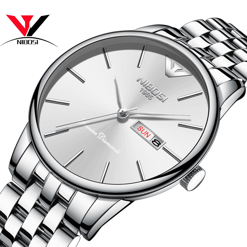 Erkek Kol Saati NIBOSI Men's Watch Waterproof Date And Day Watch Men Fashion Dress Quartz Analog Wristwatch Relogios Homme Saat relojes hombre 2018 nibosi dress brand watch men waterproof men s quartz watch business analog wristwatch stainless steel saat