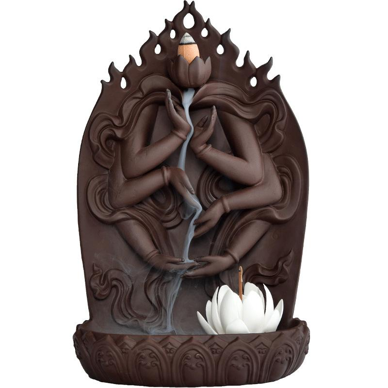 Lotus Backflow incienso quemador cascada incienso cono palos titular decoración del hogar cerámica Buda mano Lotus Censer regalo + 10 piezas conos-in Incienso y quemadores de incienso from Hogar y Mascotas    1