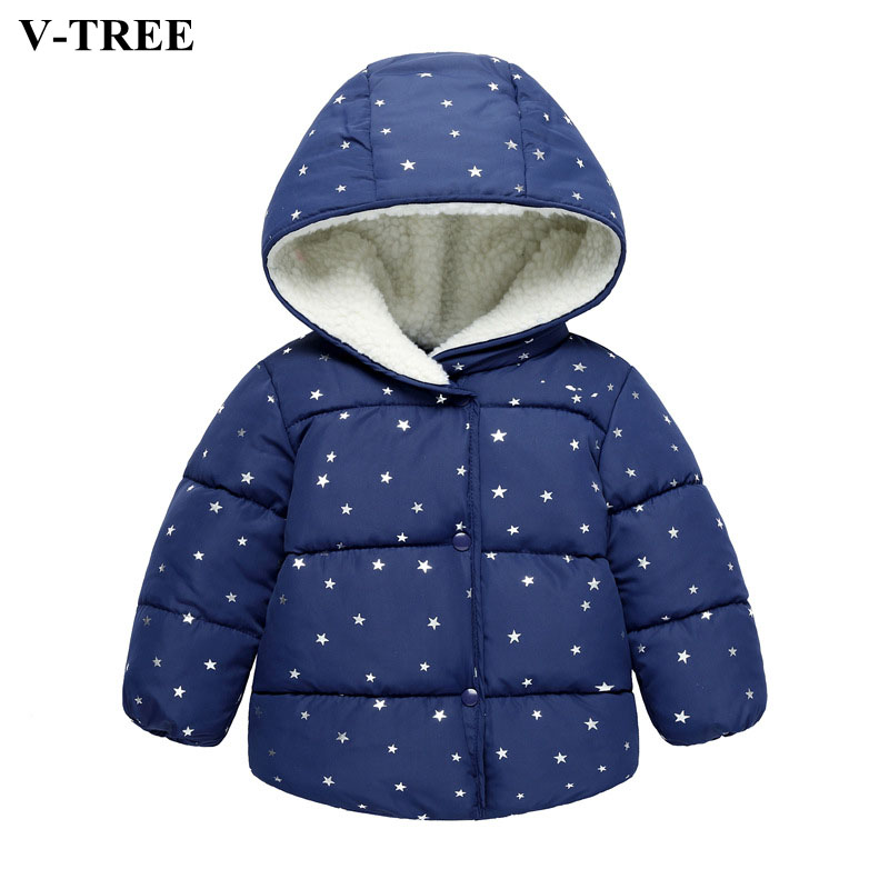 V-TREE Baby Down Coats Autumn Star Hooded Snowsuit For Boys&girls Outerwear Children Winter Jacket Kids Christmas Clothing buenos ninos thick winter children jackets girls boys coats hooded raccoon fur collar kids outerwear duck down padded snowsuit