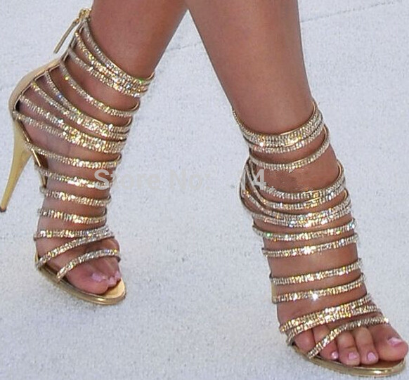 Gold Glitter Strappy Heels | Tsaa Heel