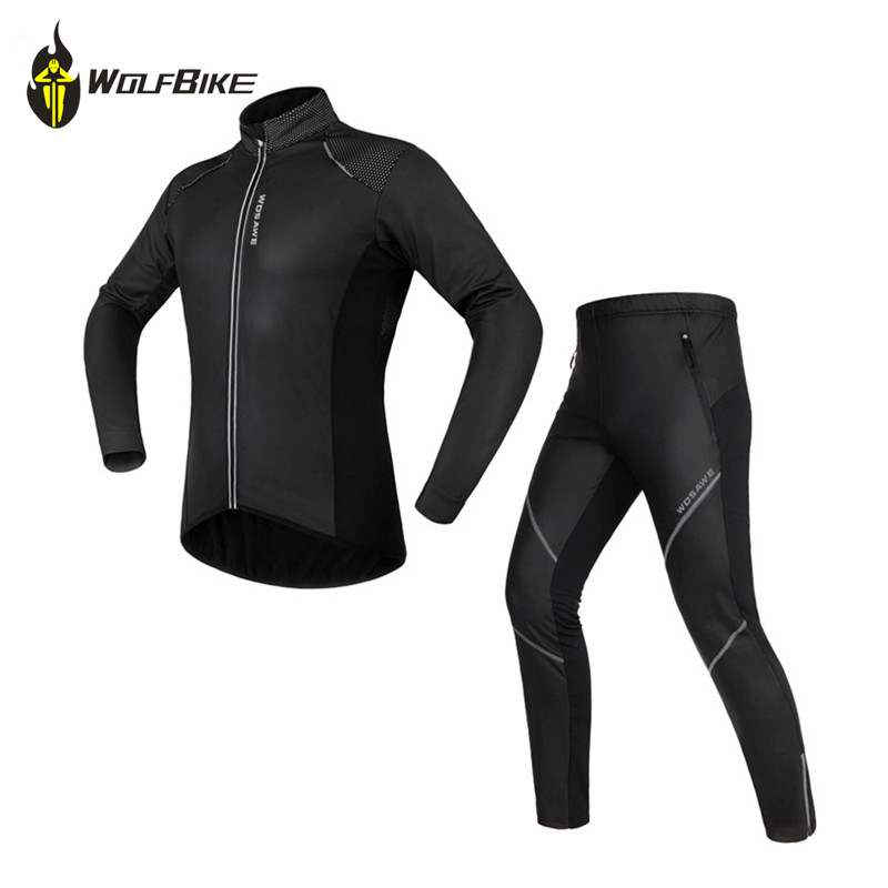 цены на WOSAWE Winter Cycling Jacket Sets Waterproof Windproof Long Sleeve Bike Riding Coat Pants Suits Men Women Bicycle Clothing в интернет-магазинах