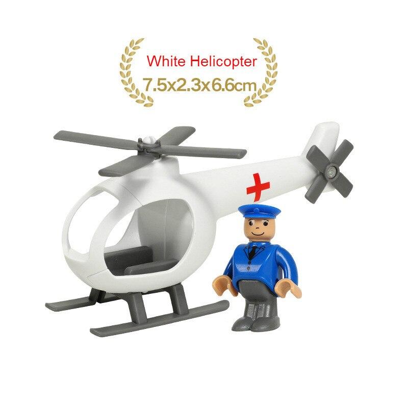 EDWONE деревянный магнитный Поезд Самолет деревянная железная дорога вертолет автомобиль грузовик аксессуары игрушка для детей подходит Дерево Biro треки подарки - Цвет: no 20White Helicopte