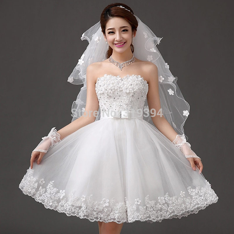 Strapless Short Lace Dress for Wedding Party 2019 White With Flowers Puff Dress Fashion Wedding Bridal Gown Casamento Vestidos