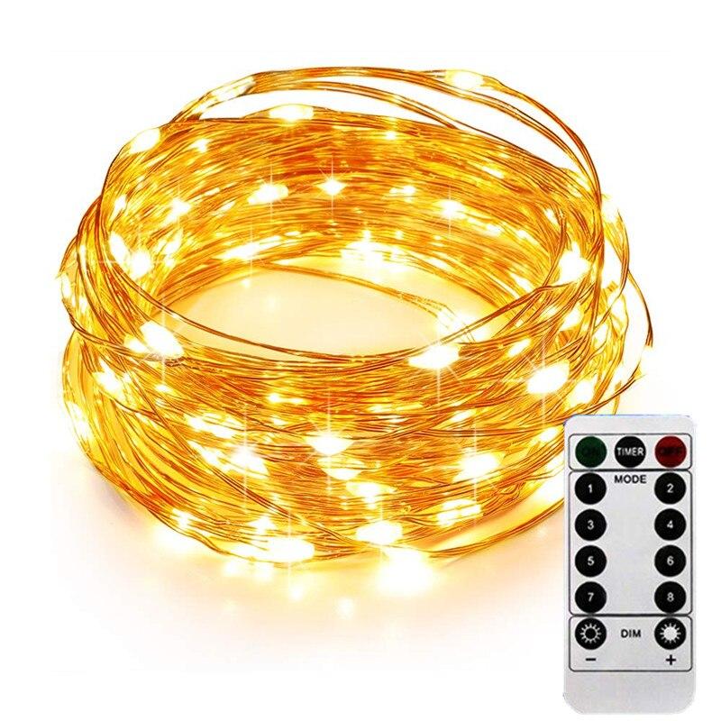 10 M 100LED Luce Leggiadramente Della Stringa di Luce a Batteria Impermeabile Elf Luci con Telecomando di Controllo 8 Modalità di Filo di Rame di Natale luce