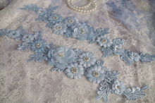 1 pc light blue Lace applique, bead lace applique with 3D flowers,  handmade headpiece appliques