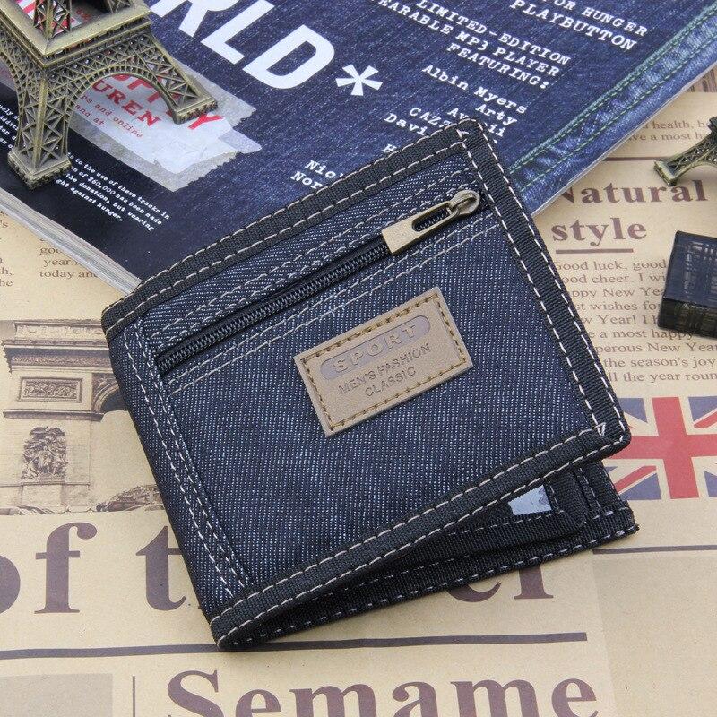 2018 New Vintage Denim Blue Jeans Canvas Wallets Women / Men Quality Man Best Gift for Boyfriend Short Zipper Coin Bag Purses
