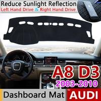 Dla Audi A8 D3 2003 ~ 2010 4E Anti Slip anty uv mata pokrywa deski rozdzielczej cień Dashmat ochrony dywan akcesoria S linia 2006 2007 w Naklejki samochodowe od Samochody i motocykle na