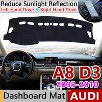 Para Audi A8 D3 2003 ~ 2010 4E antideslizante Anti UV estera del salpicadero de la cubierta de la almohadilla de la alfombrilla de protección accesorios S línea 2006 de 2007|Pegatinas para coche|Automóviles y motocicletas -