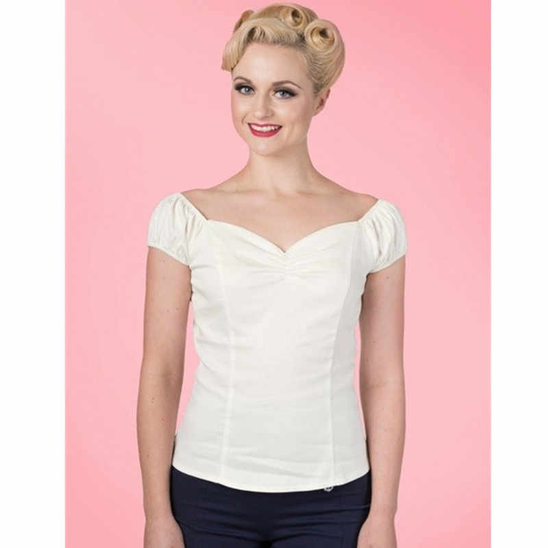 c2565516b52 ... 40- women vintage 50s winnie top in 3 colors sweetheart neckline off  shoulder shirts pinup ...