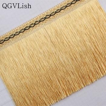 QGVLish 12M/lot 20cm Wide Long Tassel Fringe Curtain Lace Trims DIY Sewing Sofa Stage Garment Latin Dress Edge Decor Lace Ribbon
