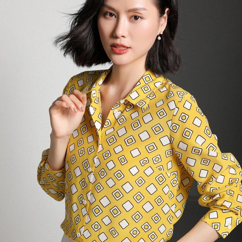 100% Mulberry Soie Chemise Impression En Soie Crêpe Blouses Chemise Femme À Manches Longues Dames hauts décontracté Bureau Chemisier M-XL Livraison Gratuite