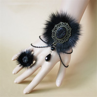 Europe And America Style The Fox Wool Cloth With Soft Nap Black Lace Bracelet For Women