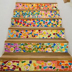 Image 3 - カラフルな引き出しモザイクブルーシーワールド黒、白靴階段の壁のステッカー DIY ステップステッカー壁デカール壁画壁紙 2019