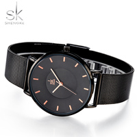 Shengke Top Luxury Brand Ultra Thin Fashion Black Women Watches New Ladies Clock Woman Dress Watch