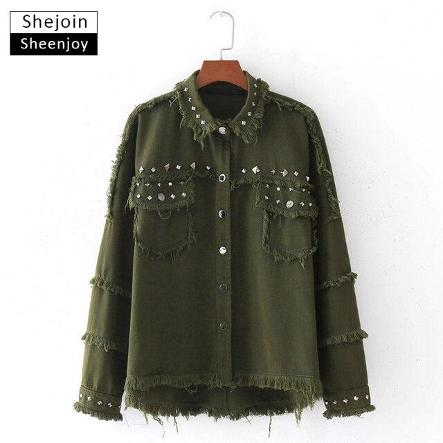 e787a7a0 ShejoinSheenjoy Army Green Rivet Tassel Oversized Jacket Coat Women Buttons  Pockets Autumn Ladies Casual Coats Outwear Tops