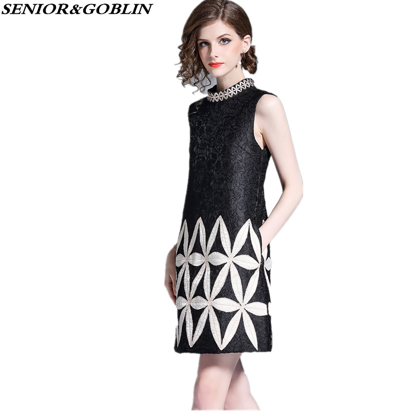 New Arrival 2019 Brand Clothing Summer Women Black White Patchwork Floral Embroidery Tank Casual Jacquard Sleeveless Party Dress