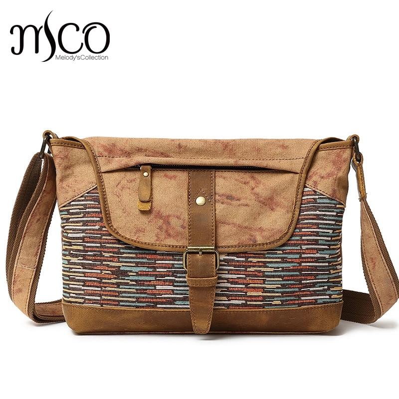 Vintage Ethnic Canvas Knit pattern Messenger Bags Women Shoulder Bag Female Casual leather Bags Travel Crossbody