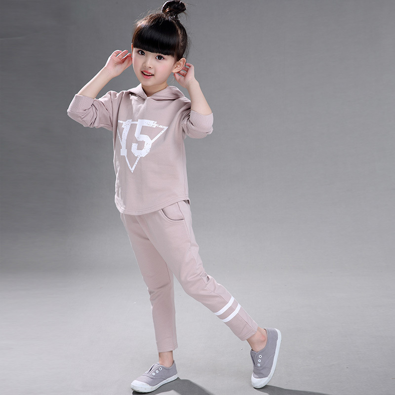 2017 Fashion Korean Girls Sets Spring Autumn New Kid's Casual Solid Digital Hooded Clothing Baby Long Sleeve Sport Suit