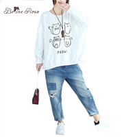 BelineRosa Korean Casual Women Clothes Kawaii Pinrt Cute Cat Loose Hoodies Large Size Autumn Women Pullovers