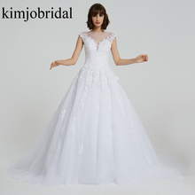 Real Wedding Dresses Sheer Crew Neckline Lace Appliques Beading Sequins Beaded Court Train Bridal Actual Image