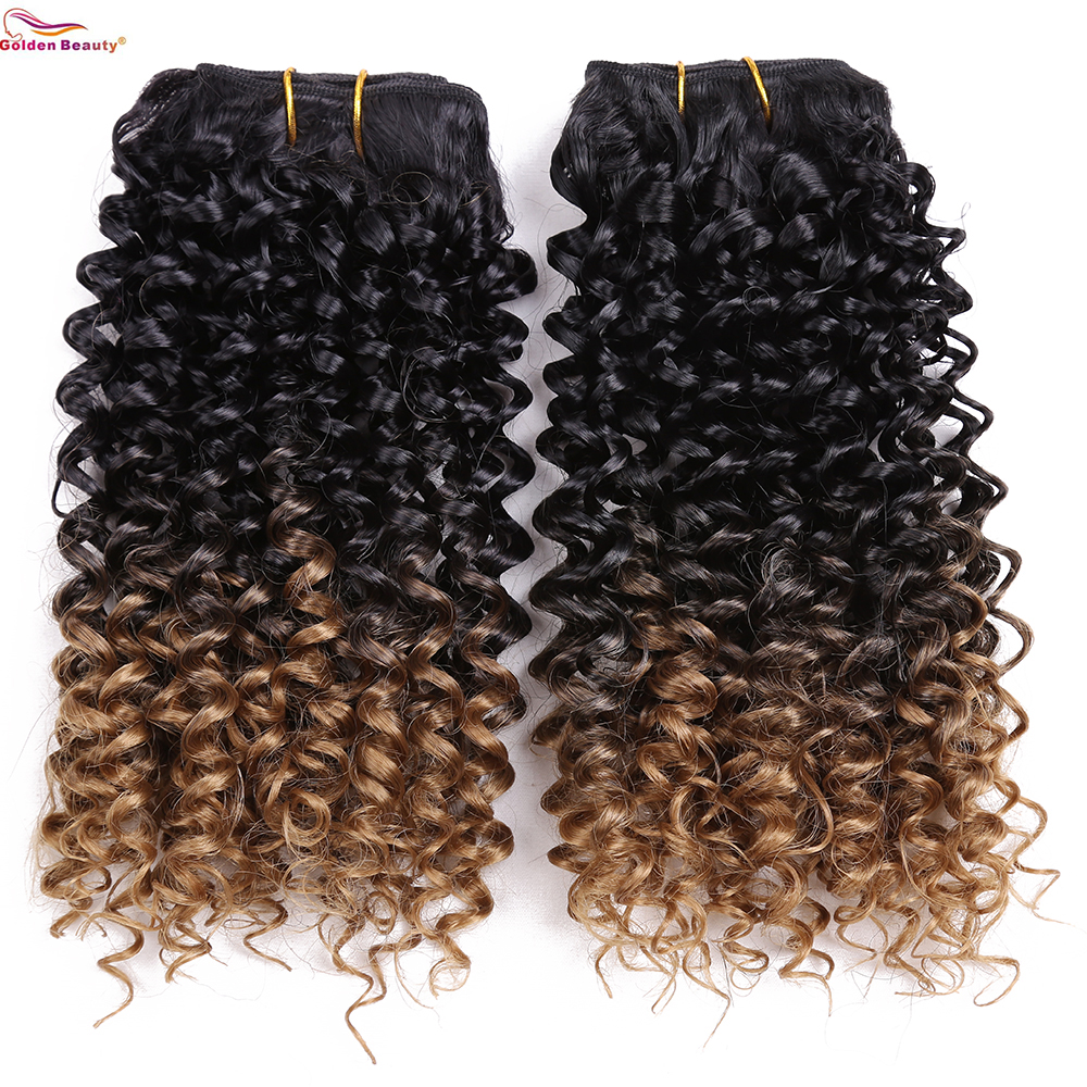 Golden Beauty 8inch Curly Synthetic Hair Weave Extensions 2Bundles Black Blonde Color