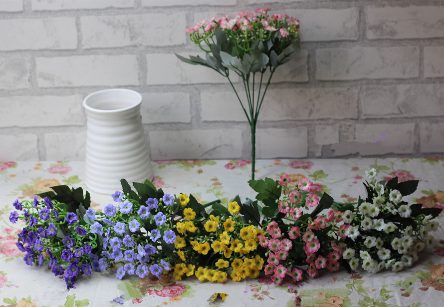 desktop silk wedding 6 fork Milan flower artificial flower simulation small Suihua garden flower small living room decoration