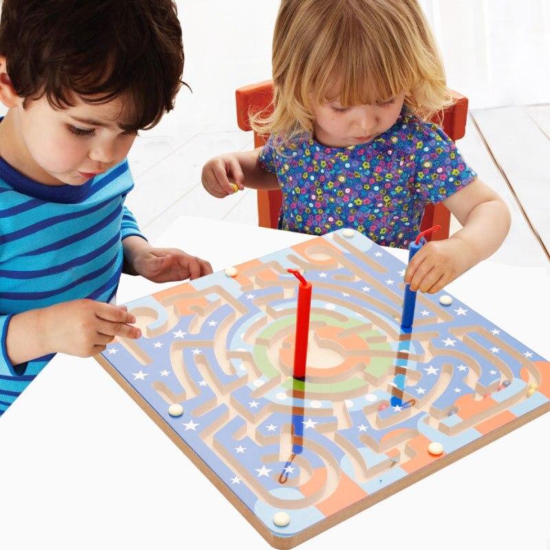 Simingyou 2 en 1 jeu de labyrinthe magnétique en bois labyrinthe échiquier jeux d'intelligence enfants jouets A50-4008 livraison directe