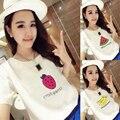 2017 Mujeres Del Verano camiseta de Impresión de Frutas de Piña Camiseta Del O-cuello Ocasional de Manga Corta Tee Tops Camiseta Femenina Ropa de Mujer