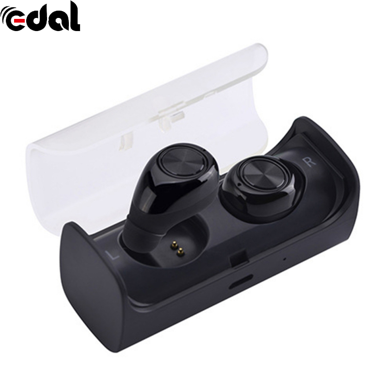 EDAL Mini Invisible Twins Wireless Bluetooth Headset Earphone In-ear Earpiece Headphone with Mic for iPhone Xiaomi Android qcy q26 mono earbud business mini headset car calling wireless headphone bluetooth earphone with mic for iphone 6 7 s8 android