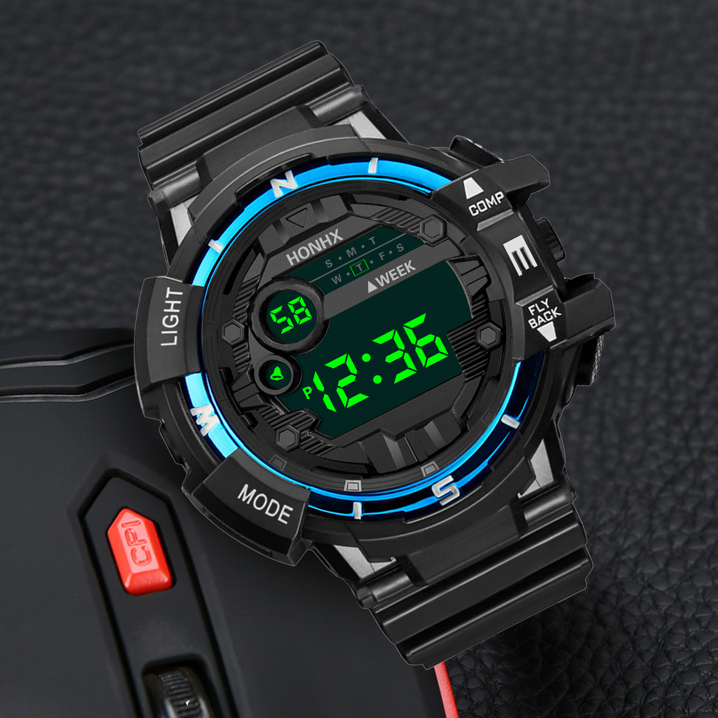 Digital Watch Alarm Military Sport Electronic Waterproof Men Fashion LED Rubber Gifts