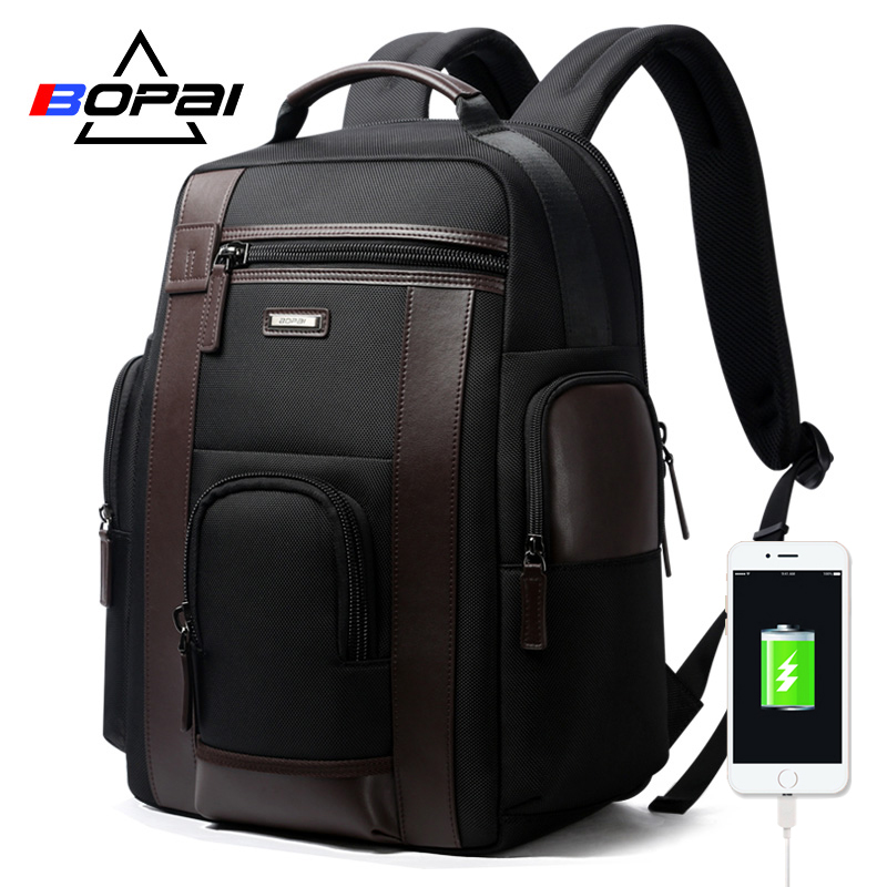BOPAI de carregamento USB Multifunction Homens 17 polegada Laptop Mochila Preta mochila de Viagem Mochilas Para Adolescente Moda Masculina anti ladrão
