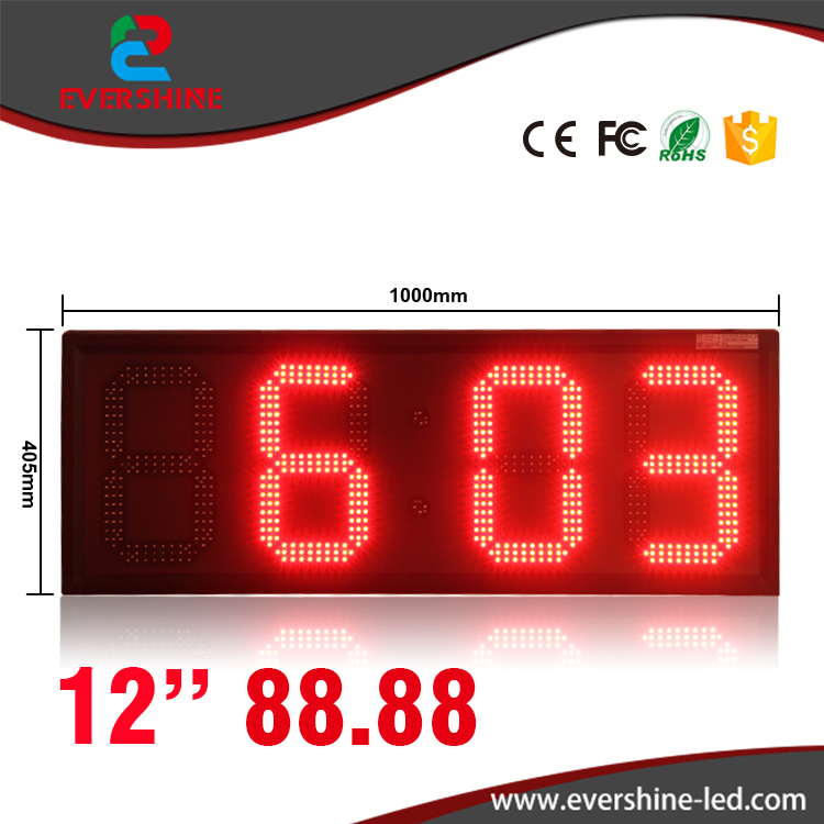 large outdoor digital clock temperature display 12 inch single red color 88:88 led time date sign hd high quality led gas price display sign outdoor led billboard green color 12 outdoor led display screen