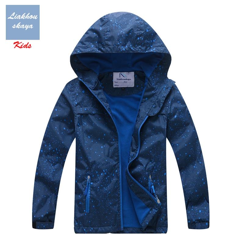Liakhouskaya/Детская водонепроницаемая куртка для мальчиков подростков, Детская верхняя одежда 2019 г., весенне осеннее теплое пальто с флисовым капюшоном для детей от 4 до 13 лет
