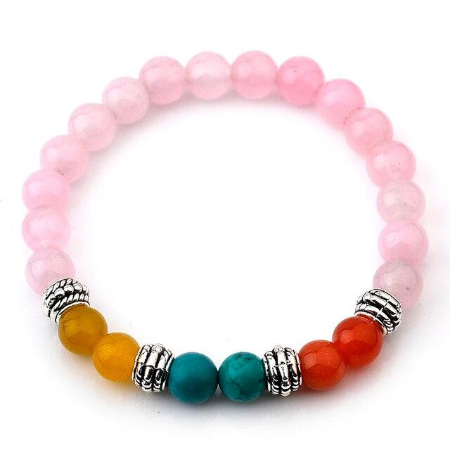 DIY El Yapımı Bilezik 2016 Moda Doğal Taş Sevimli Kawaii Pembe Opal Boncuk Bilezik Bileklik Opal Etnik Bilezik Kadınlar Takı