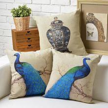 Vintage moderno europeo el pájaro Pavo Real almohada cojín Lino almohada hogar decorar sofá cojines
