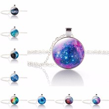 New Brand Jewelry 10 Style Charming Nebula galaxy space Glass Cabochon Silver Plated Long Pendant Necklace for Women Gift
