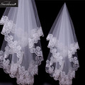 2016 Starsdress Hot Selling Real Beautiful White Ivory Lace Edge Wedding Bridal Veils  Best Matches Wedding Veil