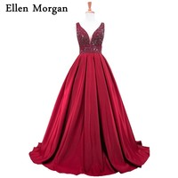 Burgundy Ball Gowns Prom Dresses 2018 For African Black Girls Vestido De Festa Stones V Neck
