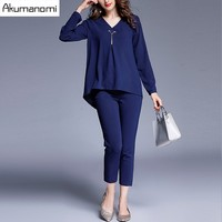 2 Piece Set Dark Blue V Neck Full Sleeve Tops Blouse Elastic Waist Ankle Length Pants