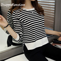 Women's female sweater pullover stripe o-neck shirt basic sweater female long-sleeve outerwear top Knitting sweater