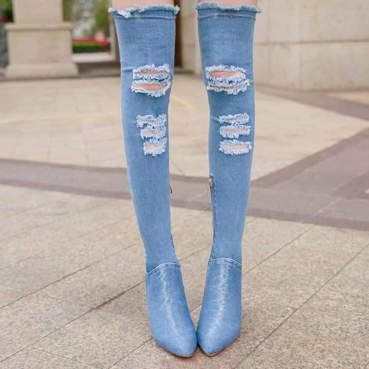 Sonbahar Kış Kadın Diz Çizmeler Üzerinde kadın Denim Sivri Burun Yüksek Topuklu elbise Uyluk Yüksek Çizmeler ayakkabı Kadın Çizmeler mujer & 328