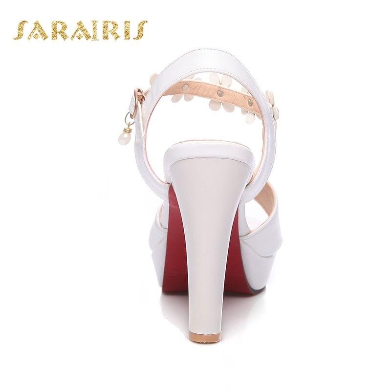 Décoration D'été 43 Taille Haute blanc Ouvert Peep Sandales Up Toe Talon Cheville Chaussures Beige Sangle Boucle Femme Fleur 32 forme noir Sarairis Plate Grande FOw55