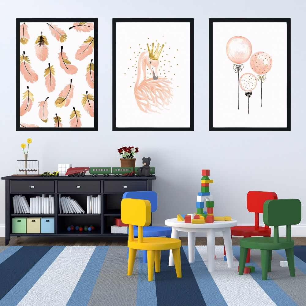 Girl bedroom decoration flamingo feather wall art canvas poster Room decoration Painting Cartoon Kids Room canvas painting E221