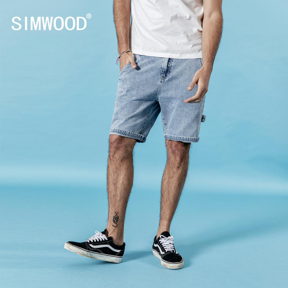 SIMWOOD 2020 Summer New Denim Shorts Men 100% Cotton Cargo Jeans Casual Denim Shorts Men High Quality Brand Clothing 190229