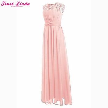 Top Lace Pink Bridesmaid Dresses Long New Designer Chiffon Beach Garden Wedding Party Formal Junior Women Ladies Chiffon Dress